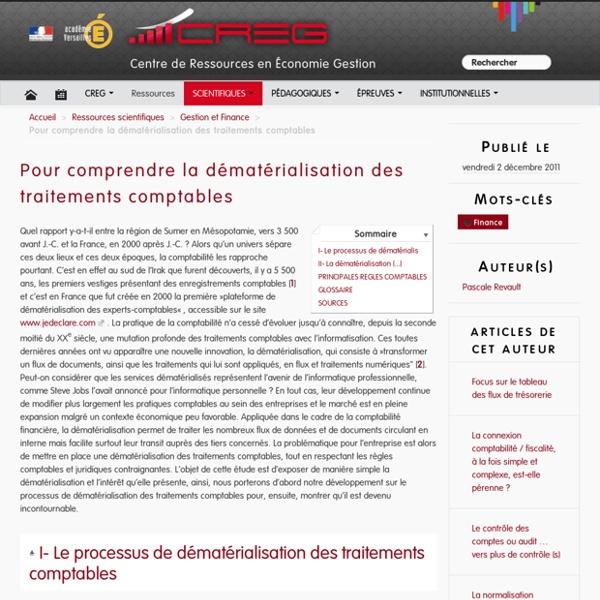 Pour comprendre la dématérialisation des traitements comptables