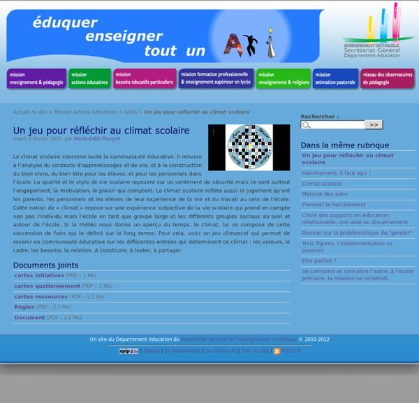 Un jeu pour réfléchir au climat scolaire - Département éducation du SGEC - Se...