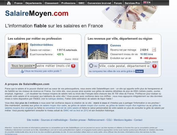 Salaire moyen 2010 en france par ville, revenu moyen, salaire brut net, salaire net, retraite des français