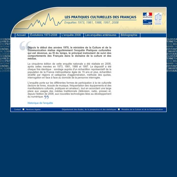 Département des Études de la Prospective et des statistiques- Enquête sur les pratiques culturelles des Français