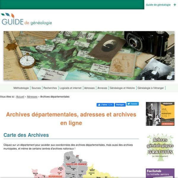 Archives départementales, adresses et archives en ligne