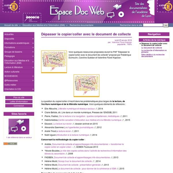 Dépasser le copier/coller avec le document de collecte - Espace Doc Web