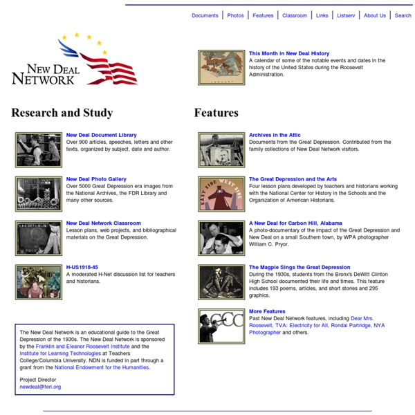 New Deal Network: The Great Depression, the 1930s, and the Roosevelt Administration