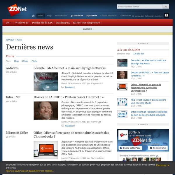Actualités IT, logiciels et des acteurs d'internet - ZDNet