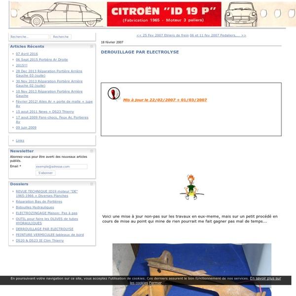 DEROUILLAGE PAR ELECTROLYSE - Citroën id 19 P de 1966