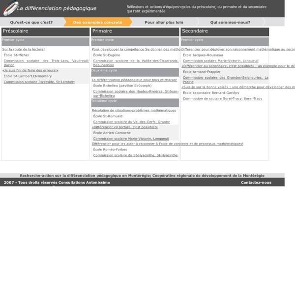Differenciationpedagogique.com - Des exemples concrets