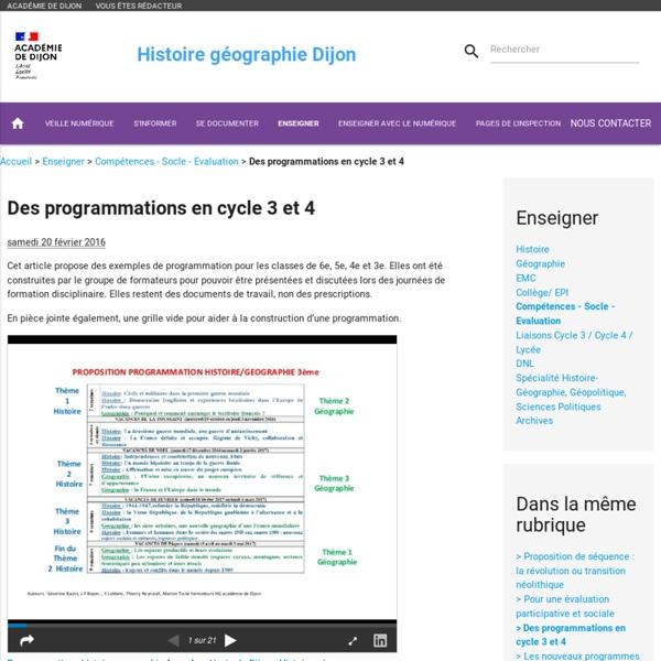 Des programmations en historie Géographie pour les cycles 3 et 4