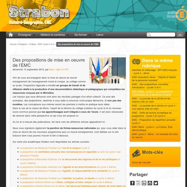 Des propositions de mise en oeuvre de l'EMC