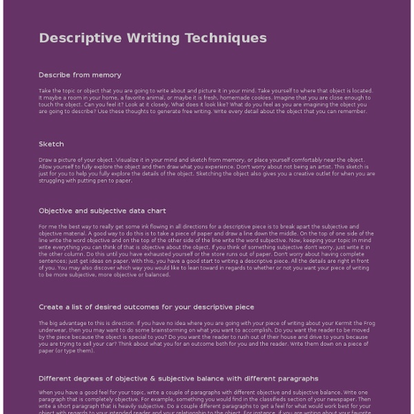 Technique writing descriptive essay