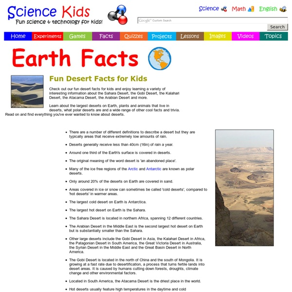 desert information for kids