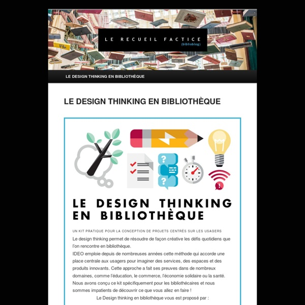 LE DESIGN THINKING EN BIBLIOTHÈQUE