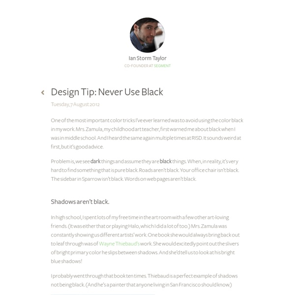 Design Tip: Never Use Black by Ian Storm Taylor