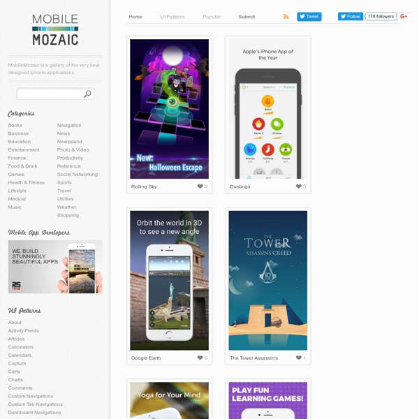 MobileMozaic, a gallery of the very best designed iphone applications