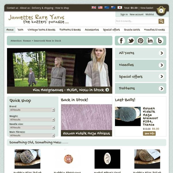 Rowan, Noro, Debbie Bliss, Louisa Harding - the best designer knitting yarns and accessories