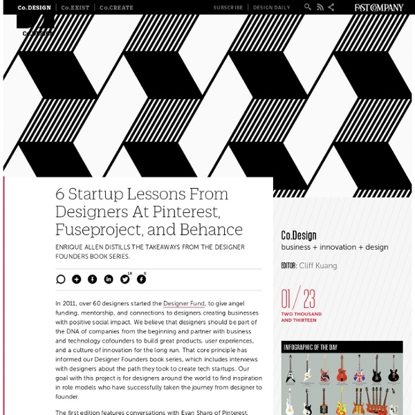 6 Startup Lessons From Designers At Pinterest, Fuseproject, and Behance