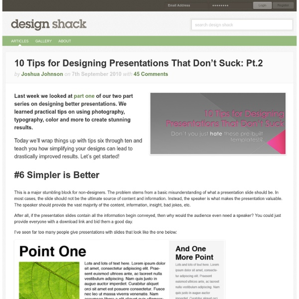 10 Tips for Designing Presentations That Don't Suck: Pt.2