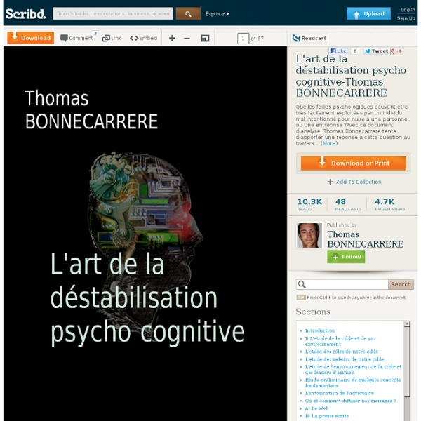 T. BONNECARRERE - L'art de la déstabilisation psycho-cognitive