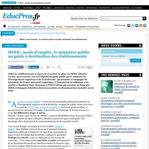 MOOC, mode d'emploi : le ministère publie un guide à destination des établissements