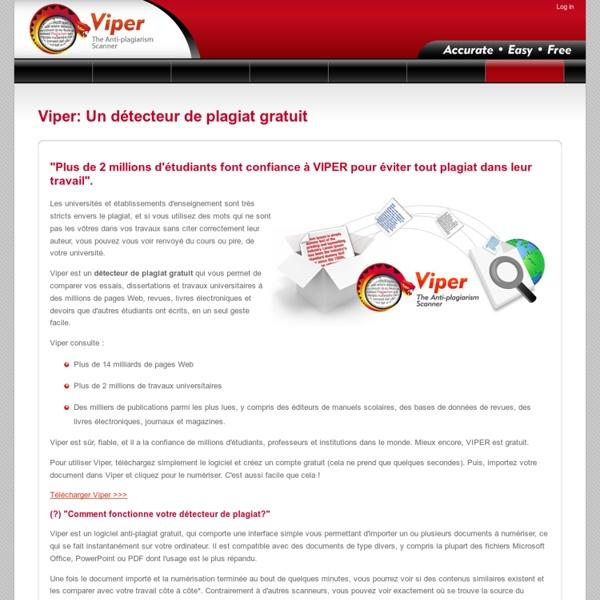 VIPER: Un détecteur de plagiat gratuit