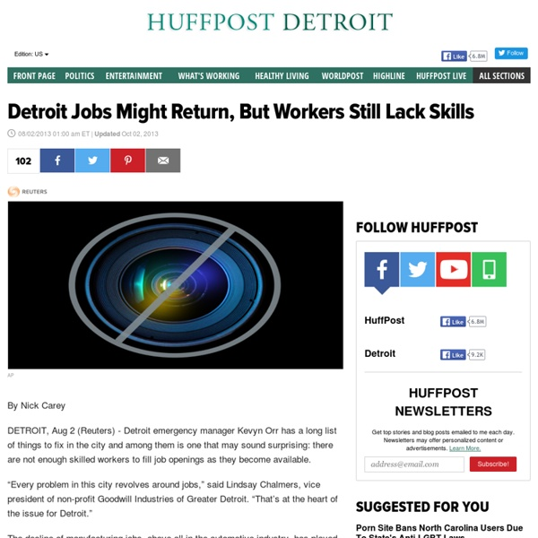 Detroit Jobs Might Return, But Workers Still Lack Skills