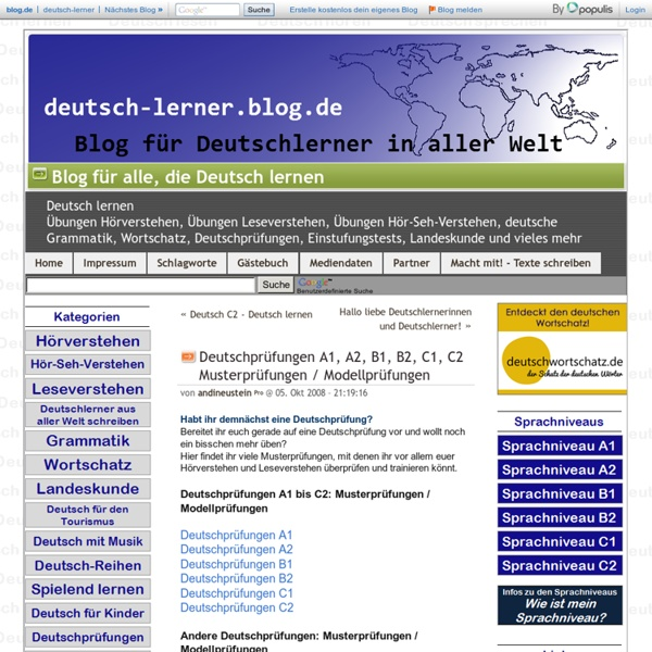 Deutschprüfungen A1, A2, B1, B2, C1, C2 Musterprüfungen / Modellprüfungen