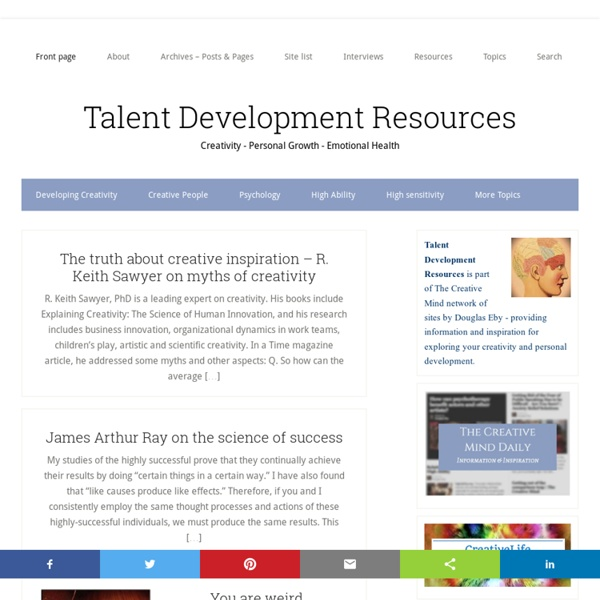 Talent Development Resources - Creativity - Psychology - Personal Development - Mental Health