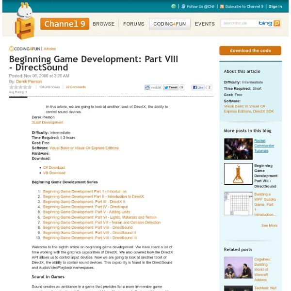 Beginning Game Development: Part VIII - DirectSound