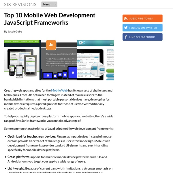 Top 10 Mobile Web Development JavaScript Frameworks