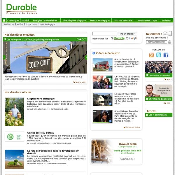 L'actualité du Développement Durable sur durable.com