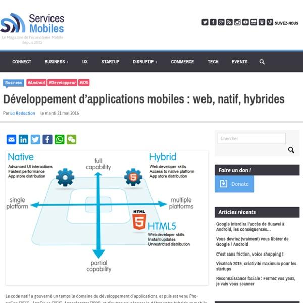 Développement d'applications mobiles : web, natif, hybrides