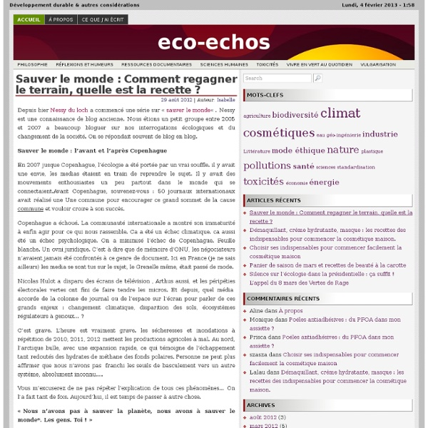 Développement durable & autres considérations, le blog d'Isabelle Delannoy
