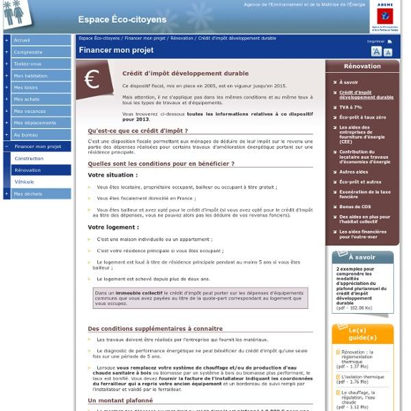 Crédit d'impôt développement durable
