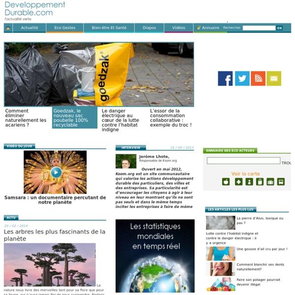 Toute l'actualité sur l'environnement et le développement durable