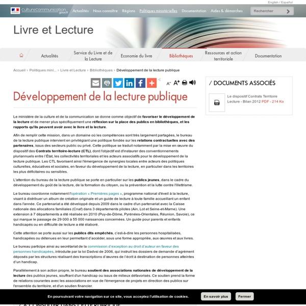 Développement de la lecture publique - Livre et Lecture