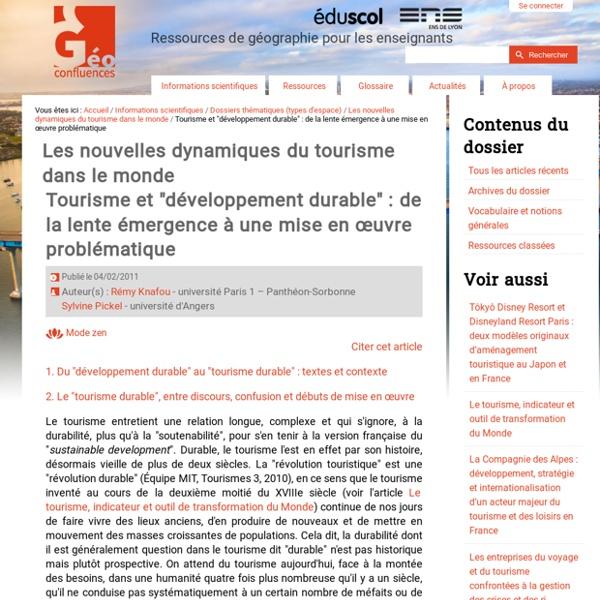 """Tourisme et """"développement durable"""" : de la lente émergence à une mise en œuvre problématique"""