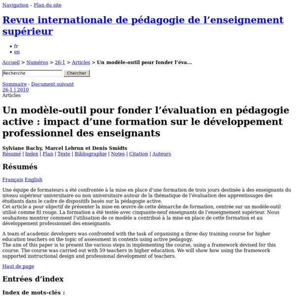 Un modèle-outil pour fonder l'évaluation en pédagogie active: impact d'une formation sur le développement professionnel des enseignants