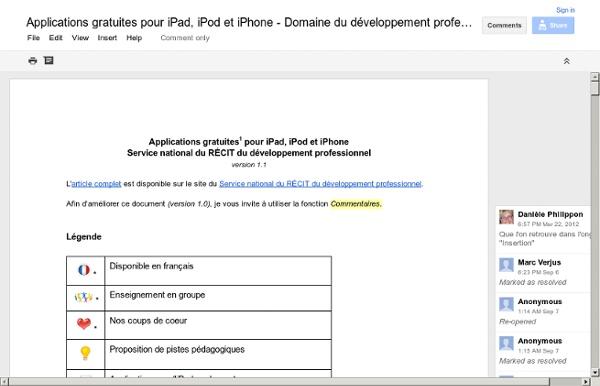 Applications gratuites pour iPad, iPod et iPhone - Domaine du développement professionnel