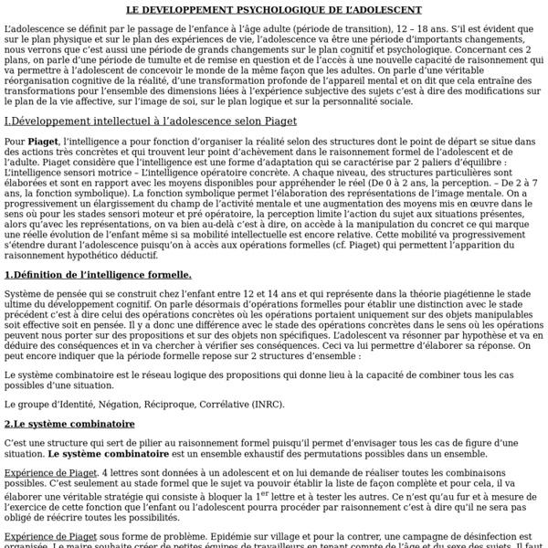 LE DEVELOPPEMENT PSYCHOLOGIQUE DE L'ADOLESCENCE