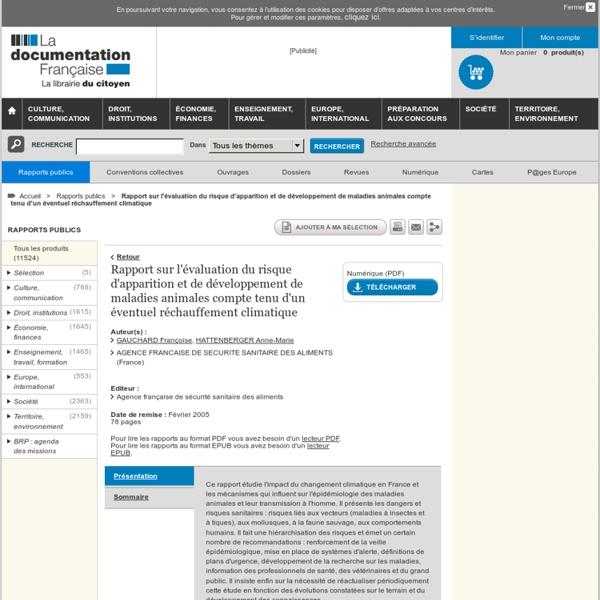 ANSES2005Rapport sur l'évaluation du risque d'apparition et de développement de maladies animales compte tenu d'un éventuel réchauffement climatique