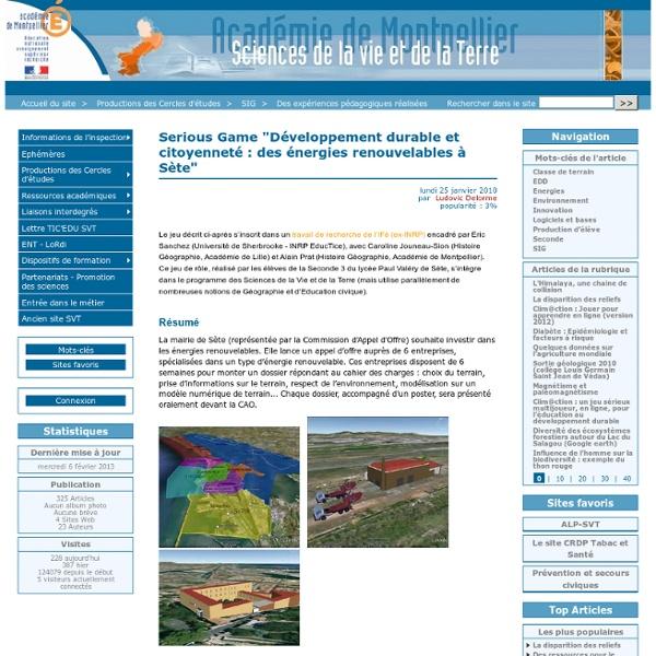 """Serious Game """"Développement durable et citoyenneté : des énergies renouvelables à Sète"""""""