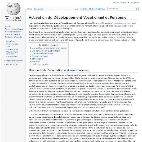 Activation du Développement Vocationnel et Personnel
