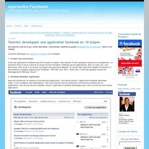 Tutoriel: developper une application facebook en 10 etapes