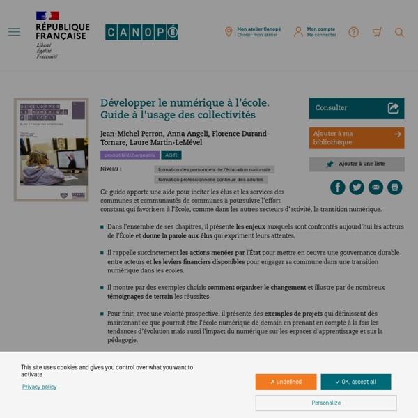 Guide CANOPE pour les collectivités : Développer le numérique à l'école