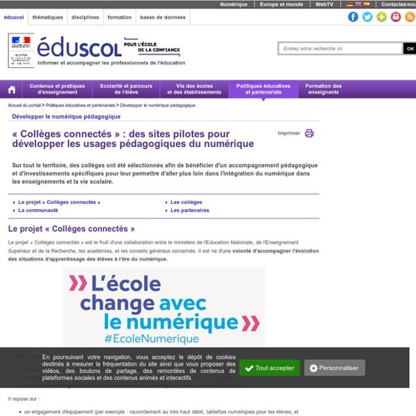 Développer le numérique pédagogique - Collèges connectés