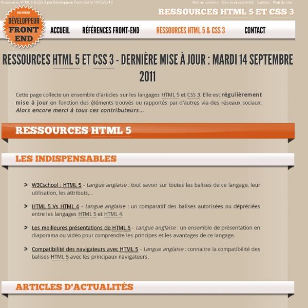 Ressources HTML 5 & CSS 3 (développement Front-end)