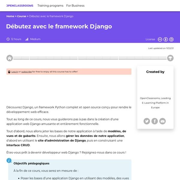 Créez vos applications web avec Django - Python