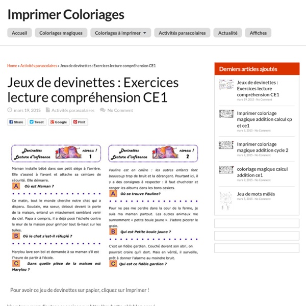 Bien-aimé Jeux de devinettes : Exercices lecture compréhension CE1 | Pearltrees OD22