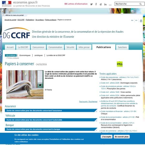 DGCCRF - Papiers à conserver