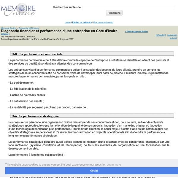 Diagnostic financier et performance d'une entreprise en Cote d'Ivoire - Pecassioh Venance Ouattara