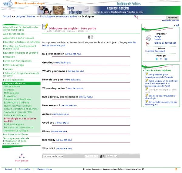 Dialogues en anglais - Pédagogie